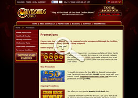 Silversands Casino | Promotions Page